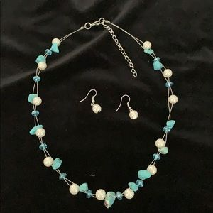Pearl and turquoise necklace with earrings